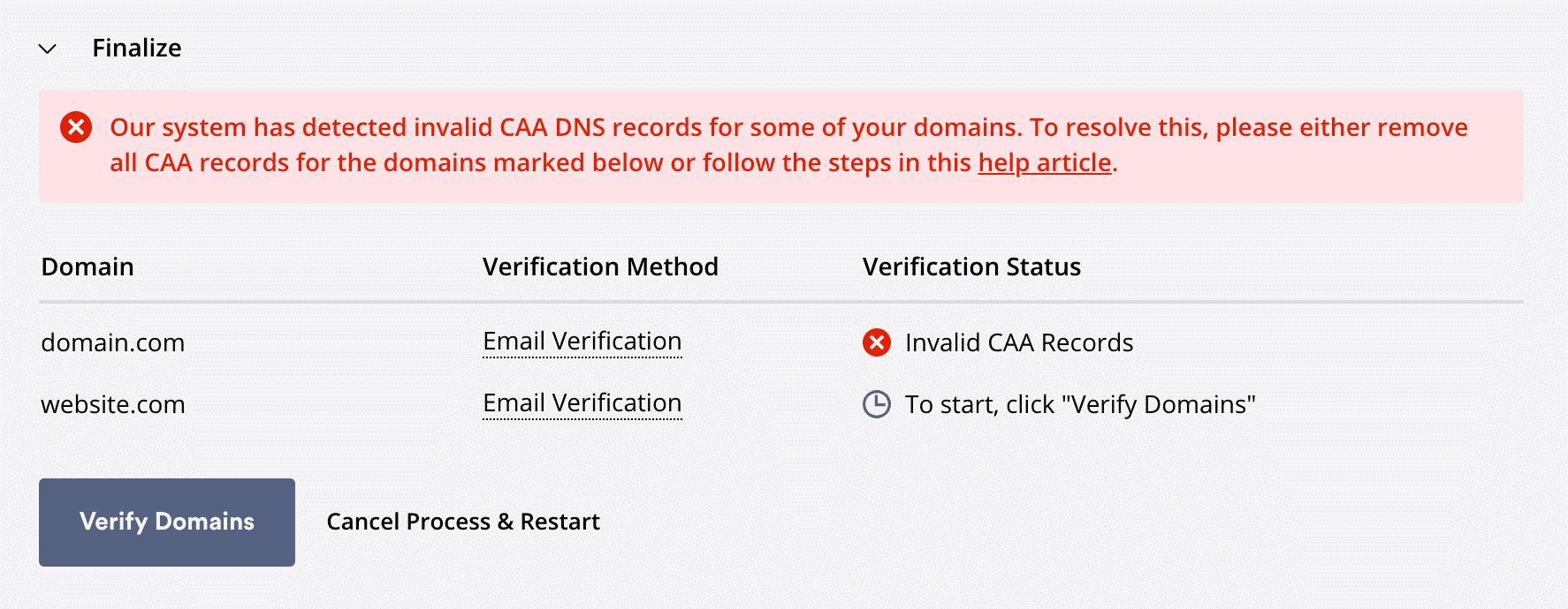 How to solve invalid CAA DNS records Error in ZeroSSL.com ?