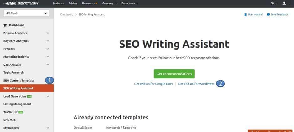 SEMrush seo writing assistence plugin