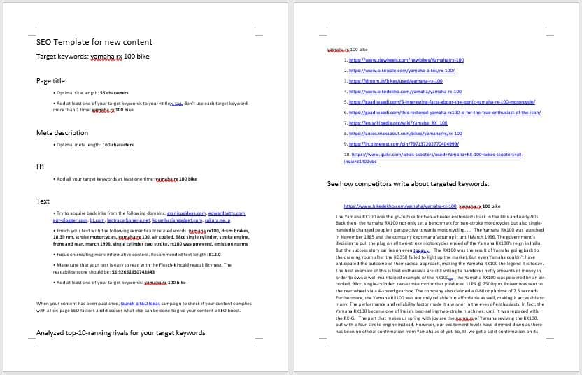 SEo template for content